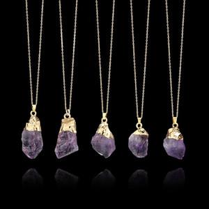 Crystal Point pietra curativa Collana lunga 1pc naturale Amethyst viola della pietra preziosa del pendente del quarzo dei monili della catena Decor C19041101