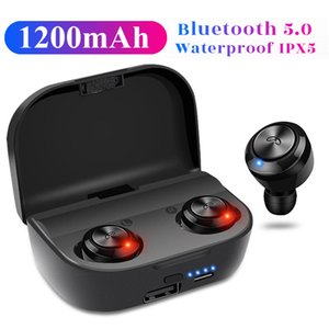 New A6 plus TWS Mini Bluetooth 5.0 Earphone Wireless Earbuds Invisible Headphones Handsfree In-Ear Headset Stereo 1200mAh power bank