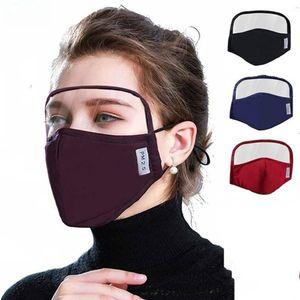US Stock! 2020 Design 2 en 1 Masque Visage yeux Bouclier tout autour de la protection Masques de coton Masque pour les yeux du visage Bouclier de protection intégré Bouche