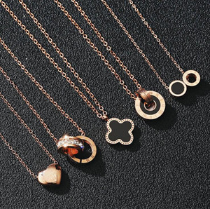 Fashion Luxury Designer Necklaces for Women Jewelry Rose Gold Chains Titanium Stainless Steel Clover Pendant Necklace Gift Wholesale