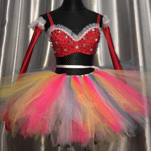 Bar Discothèque DJ Chanteuse Sexy Stage Porter des cristaux colorés Mesh Mini-jupe Bra 4 pièces Ensemble du Club Dance Party Costume Outfit
