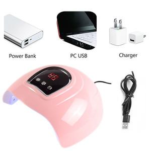 54W الوردي UV LED مسمار مصباح علاج ALL جل البولندية مصباح الأشعة فوق البنفسجية للأظافر Pecicure مع مصباح العرض LCD مسمار مجفف الأظافر USB