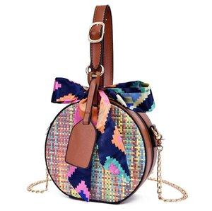 2020 Women Shoulder Bags Braided Crossbody Bag Chain Small Round Bag Ribbons PH-RG2061842