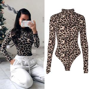 Monos casuales de otoño de moda sexy para mujer Monos de manga larga con estampado de leopardo Monos flacos