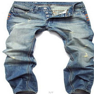 Light Blue Jeans para hombre recto Diseñador larga delgada Distrressed mosca de la cremallera de los pantalones vaqueros ropa de moda masculina