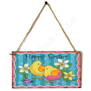 2020 Bandeira de Easter Bandeiras de suspensão de madeira Artesanato Coelhinho da Páscoa feliz Coelho ornamento de suspensão parede da varanda Decoração de Páscoa Pendant D1901