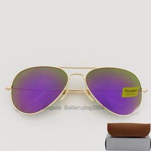 Высокое качество Мода Зеркало Мужчины Женщины полит солнцезащитные очки UV400 Vintage Спорт ВС очки Золотой кадр Фиолетовый 58мм 62мм линзы