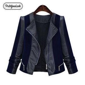 Pickyourlook Pu Deri Kadın Coat Ceket Plus Size Patchwork Motosiklet Palto İçin Kadın Moda Fermuar Büyük Lady Dış Giyim V191209