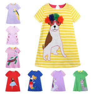 32 стили девушки полоса с коротким рукавом платье дети мультфильм прямое платье животных печати Принцесса платья мода бутик Детская одежда M1761