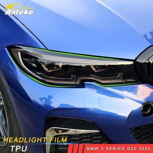 Pour BMW Série 3 2020 G20 Car Styling Phare avant Film Lampe Contreplaqué noir protecteur autocollant Garniture couverture extérieure Accessoires