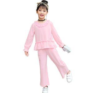 Ropa de las niñas bebés Otoño Nueva versión coreana de The Big Children's Nine Pants Tendencia Casual Pantalones de pierna ancha de dos piezas