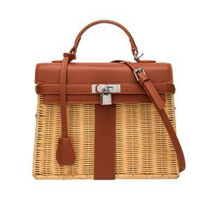 2020 Nouveau Sac en rotin asiatique Bali main sac à main tricotée tissé grande capacité sacs de mode Sac shopping été paille avec la clé de verrouillage