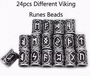24pcs Photo réelle Haute Qualité Norse Viking Runes Perles de charme en métal pour bracelets pour collier de pendentif DIY pour la barbe ou les cheveux