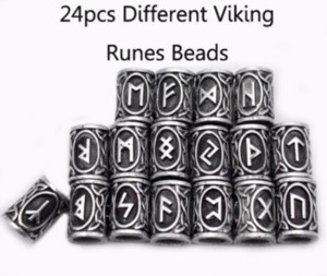 24pcs 실제 사진 높은 품질 노르웨이 바이킹 룬 문자 금속 매력 비즈 펜 던 트 목걸이에 대 한 팔찌에 대 한 수염 또는 머리에 대 한 DIY