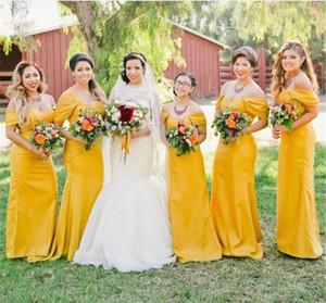 Страна желтая подружка невесты платья с плеча русалка плисситы спинной длинной горничной чести платья плюс размер