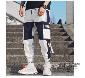Multi homens bolsos de carga Harem Pants Hip Hop Casual Masculino Faixa Corredores Calças Moda Harajuku Hipster Streetwear Pants ter tamanho maior