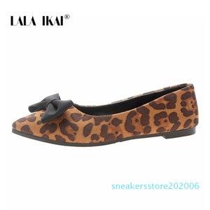 LALA Ikai Düz Ayakkabı Bırak-nakliye Kadınlar İlkbahar Yaz Moda Leopard Sivri Burun Kelebek-düğüm Ayakkabı Kayma-On s06