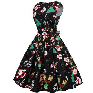 Fashion-Clothing Casual Women Dress Fashion Elegant Christmas Print Abiti A-line Vintage Dress Vestidos Plus Size abiti firmati