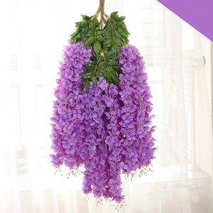 115 centimetri denso glicine fiore di seta fiore artificiale vite elegante giardino in rattan casa di cerimonia nuziale partiti moda decorazione Accessori LJJA3318