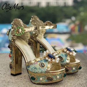 OllyMurs Новый дизайн натуральная кожа Jewel стрижкой Кристалл Цветочные лето сандалии Open Toe Sexy платформы коренастый пятки сандалии обувь