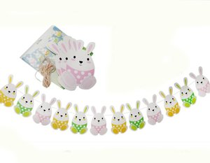 Easter Banner Easter Celebration Decorations Rabbit Bunny Sign Bunting Garland Decorations for Home Kindergarten Restaurant Store
