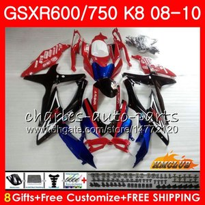 Kits Pour SUZUKI GSXR-750 GSXR-600 GSXR750 K8 GSXR 600 750 Carrosserie 9HC.107 GSXR600 GSX R750 R600 08 09 10 2008 2009 2010 stock Bleu Rouge Carénage