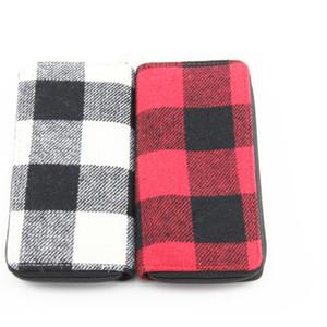 winter designer fashion Buffalo Plaid long wallet women zipper Card Holder Wallet white black plaid purse