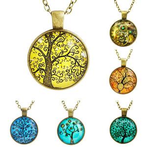Exquisite Der Baum Des Lebens Halskette Kuppel Glas Anhänger Halsketten Frauen Halsketten Schmuck Vintage Bronze Kette Lange Aussage Halsketten
