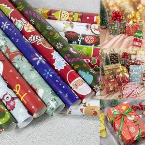 Papier d'emballage de Noël Décoration de boîte-cadeau Paquet bricolage papier Cartoon Père Noël bonhomme de neige Cerfs Papier d'emballage présent RRA2440