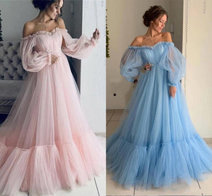 2019 Fairy Light Sky Blue Pink Evening Dresses with Poet Long Sleeve Elegant Off Shoulders Pleats Ruffles Long Party Prom Gowns Arabic