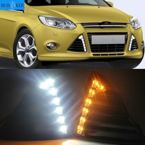 1 Set with Turn Signal Lamp LED DRL Waterproof IP67 Front Fog Lamp Daytime Running Lights for Focus 2012-2020 12V