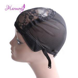Doppel-Spitze-Perücke Caps für die Herstellung der Perücken und Haar Weaving Stretch Adjustable Wig Cap heiße schwarze Haube-Kappe für Wig