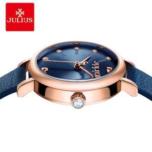 2020 Julius Women's Watch for Small Wrist Ladies Top Quality Luxury Blue Wristwatches Japan Movement Waterproof Leather Clock JA-1077