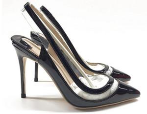 019 schwarz Lackleder Spleißen Rückraum Sandalen Damen Red Bottom Cusp Feine Ferse Schuhe mit hohen Absätzen Größe 44 Bankett 10cm Hochzeit