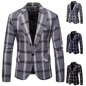 Мужские Классический Plaid Blazer Slim Fit Blazer Тонкий бизнес Работа Мужчина для Мужской Стильный официально костюм пальто осень повседневные Пиджаки