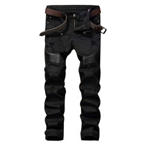 Fashion Mens Ripped Biker Jeans Leather Patchwork Slim Fit Black Moto Denim Joggers For Male Distressed Jeans Pants