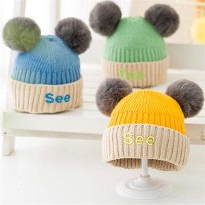 Accessori Bambino cappello di inverno Crochet Pompom cappello per le ragazze Faux Fur Raccoon Baby Boy Cap Moda bambini per bambini Cap