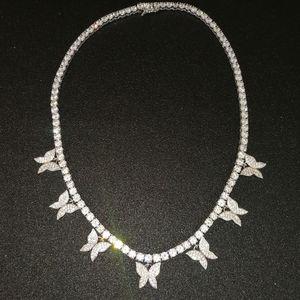 بلينغ المرأة زركون حجر الكوبية فراشة سلسلة قلادة مجموعة داينتي الذهب والفضة الماس فراشة قلادة