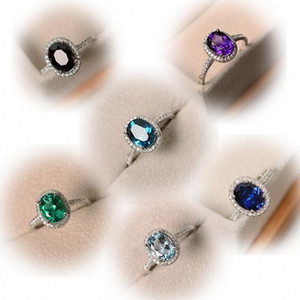Transporte da gota Jóias de Luxo 925 Prata Esterlina Oval Corte Multi Cor Topázio CZ Diamante Partido Mulheres Anel de Casamento Banda Para Presente dos Amantes