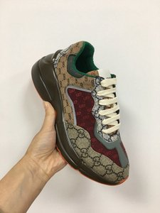 En çok satan toplama Erkekler Kadınlar tasarımcı rhyton spor ayakkabı sembolik baskılı sneaker Retro eğitmen moda baba Ayakkabılar spor ayakkabılar boyutu 35-45