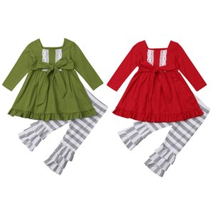 2018 Multitrust Brand Kids Baby Girls Xmas Outfits Clothes Long Sleeve Green Red Tops Dress+Striped Pants Set Ruffle Autumn Set