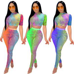 Chormatic Baskı Kadın Kıyafetler Ev Giyim Yuvarlak Yaka Kısa Kollu T Shirt Renkli Moda Kadın Pantolon İki adet Setleri Tie-boya