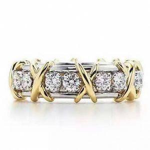 Леди стерлингового серебра 925 пробы танзанит пара колец желтое золото крест вечная группа обручальное кольцо для женщин бренд ювелирных изделий размер 5-12