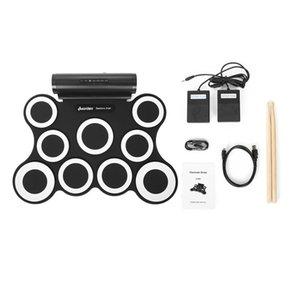 Portatile rotoli in su Electronic Drum Set Kit 3009 9 Pads altoparlanti incorporati con cavo Pedali Bacchette USB per la pratica