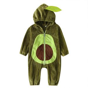 Çocuklar Clothings M958 için yenidoğan Tulum yürümeye başlayan çocuklar bodysuit Dış Giyim Bebek Avokado Kapşonlu tulum Kış Sıcak Fanila Tırmanma Suit