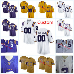 Nome do produto: NCAA Custom LSU Tigers Jerseys de futebol da faculdade Lowell Narcisse Caleb Lewis Jacob Phillips Devin Branco Wesley McKoy LSU Tigers Jersey