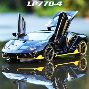 Flash LED LP770 01:32 voiture en alliage Lamborghinis Voiture de Sport Diecast Super Sound Racing Lifting Tail Hot Car roue pour les enfants T200110