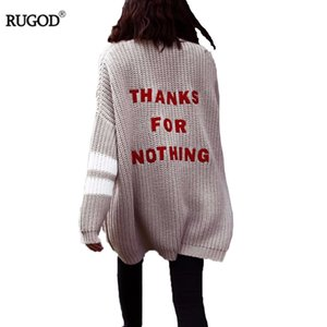 Rugod 2018 Mode Lettre broderie Cardigan Feminino femmes hiver chaud Pull Femme Casual long Cardigan Poncho Pull Femme