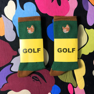 GOLF Cotton Socks Thicken Street Fashion Sports confortáveis ​​Meias bonitas tubo socking Outono respirável meados inverno