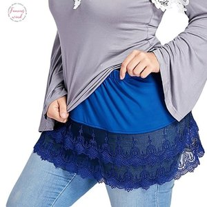 Klv Plus Size Womens Skirt Faldas Largas Moda Layered Tiered Sheer Lace Trim Extender Half Slips Skirt 3